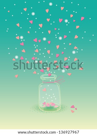 Jar of hearts for a Valentine's, wedding, birthday, greeting card or poster - stock vector