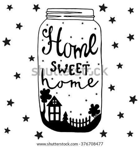 Jar with text and house, yard, tree, fir, fence, bush and stars, Home sweet home, lettering. Night sky background - stock vector