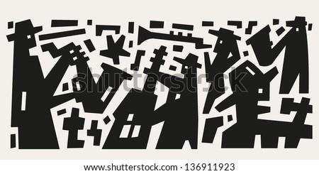 jazz band - abstract vector illustration - stock vector