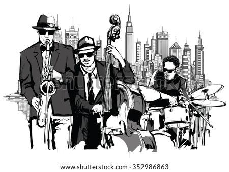 Jazz band in New-York - vector illustration - stock vector