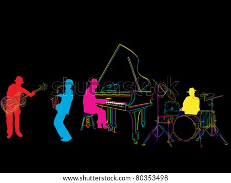 Jazz band sketch, isolated and grouped over black - stock vector