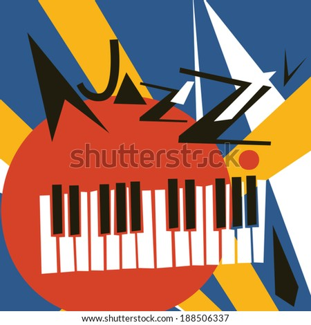 JAZZ concert, Music background flat vector illustration - stock vector