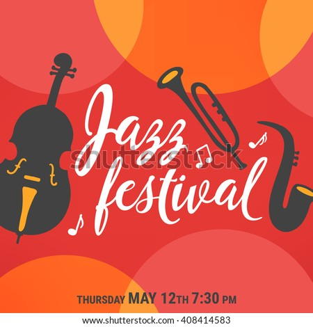 Jazz festival poster. Trio: saxophone, double bass and trumpet on red background with circles. Perfect for music events, jazz concerts. Vector illustration. - stock vector