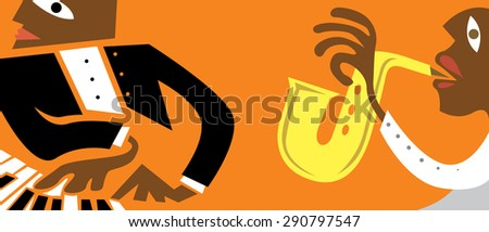Jazz Music Band Banner, Sax, Piano Player (Vector Art) - stock vector