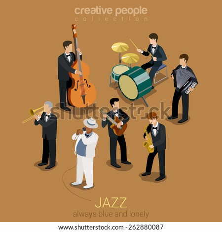 Jazz music band flat 3d web isometric infographic concept vector. Group of creative young people playing on instruments blues scene concert. Guitar sax cello accordion trombone. Creative collection. - stock vector