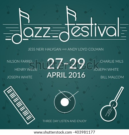 Jazz music festival, colored poster background template with musical instruments. - stock vector