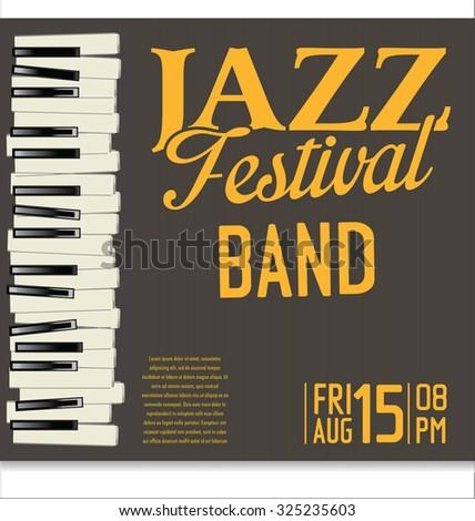 Jazz music festival, poster - stock vector