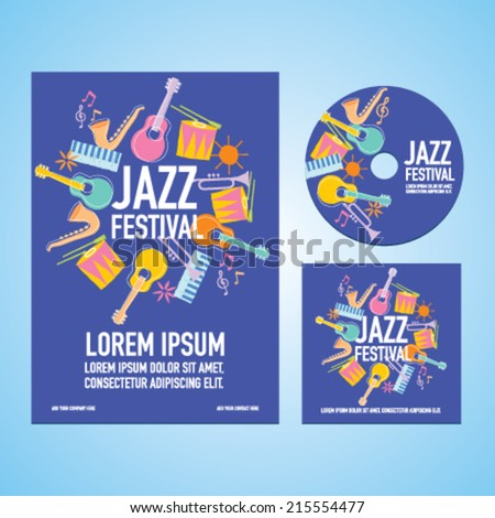 Jazz Music Festival Poster Advertisement with music instruments - stock vector