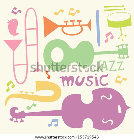 Jazz music instruments in color - stock vector