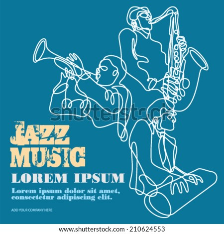 Jazz music players with trumpet, saxophone and piano doodles poster - stock vector