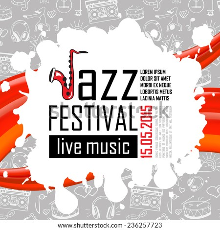 Jazz music, poster background template. Vector illustration. - stock vector