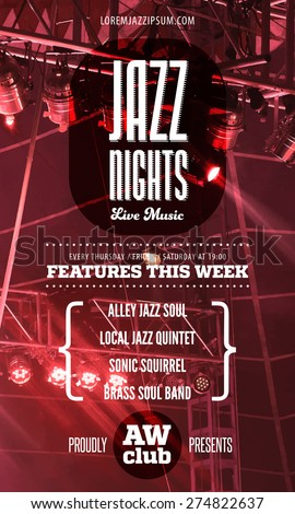 Jazz music poster template. Text instructions included in hidden layer. Vector concert stage background. - stock vector
