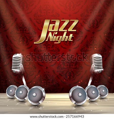 Jazz music with microphone on luxury background with pattern with place for your text - stock vector
