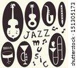 Jazz musical instruments vector set - stock vector