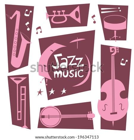 Jazz musical instruments vector set. - stock vector