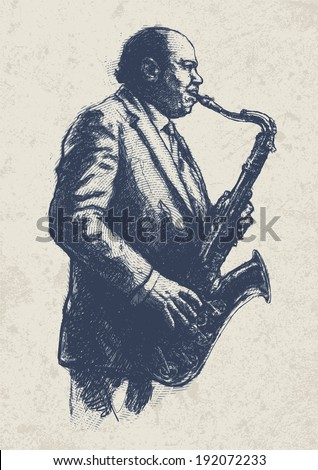 Jazz musician. drawing style. vector illustration  - stock vector
