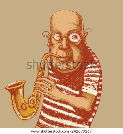Jazz musician, saxophonist. drawing style. vector illustration - stock vector