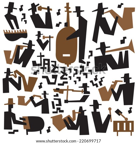 jazz musicians - icons set - stock vector