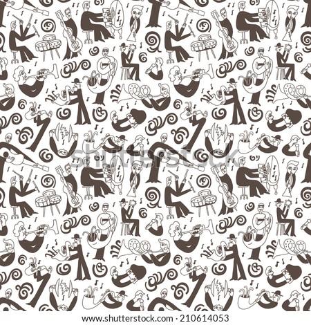 jazz musicians - seamless vector background - stock vector