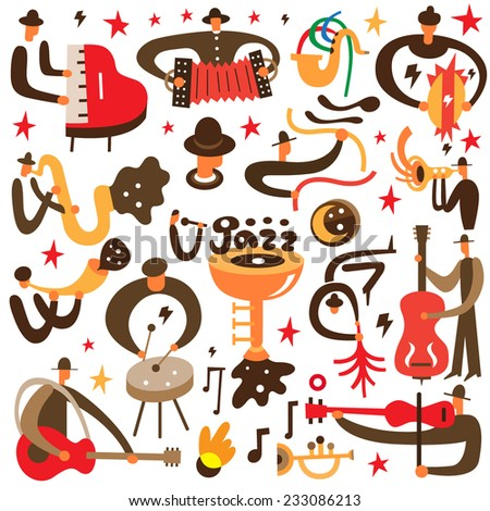 jazz musicians - vector cartoons - stock vector