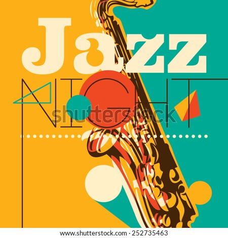 Jazz night background. Vector illustration. - stock vector