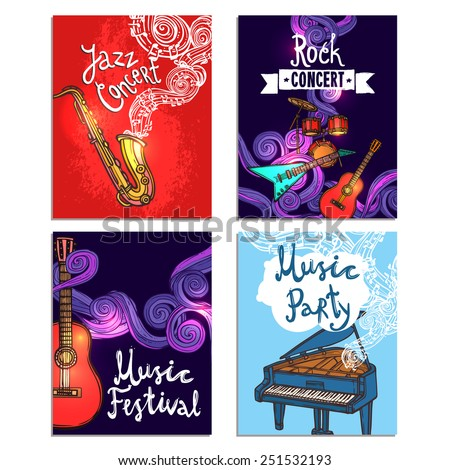 Jazz rock classic concert mini poster sketch set with music instruments isolated vector illustration - stock vector