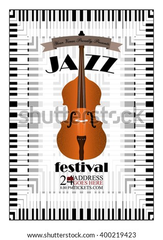Jazz, rock or blues music poster template. Abstract background for flyer, brochure, banner. - stock vector