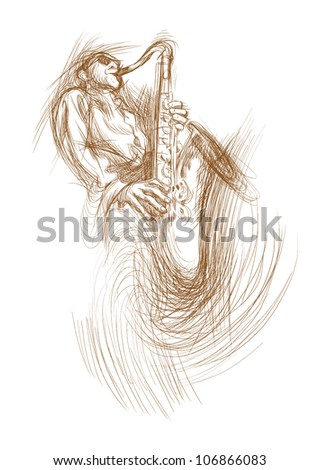 jazz saxophone player, hand drawing converted to vector - stock vector