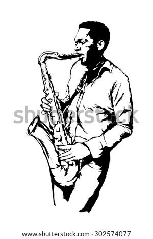 Jazz saxophonist - stock vector