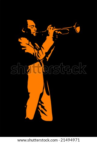 Jazz trumpeter, silhouette in black and orange - stock vector