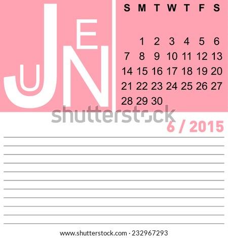 jazzy monthly calendar june 2015, vector, eps10 - stock vector