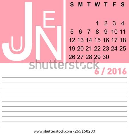 jazzy monthly calendar June 2016, vector, eps10  - stock vector