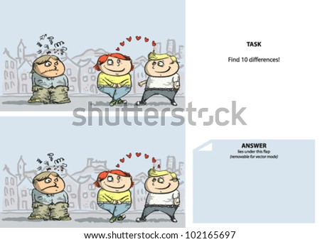 Jealousy Cartoon Find 10 Differences (with solution) - stock vector