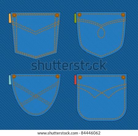 Jean pockets. Vector set - stock vector
