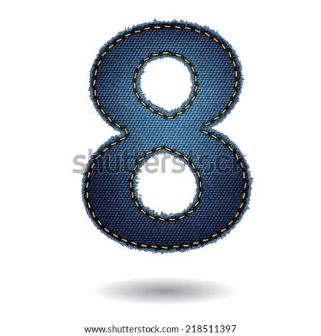 Jeans alphabet letters number 8, Vector illustration modern template design - stock vector