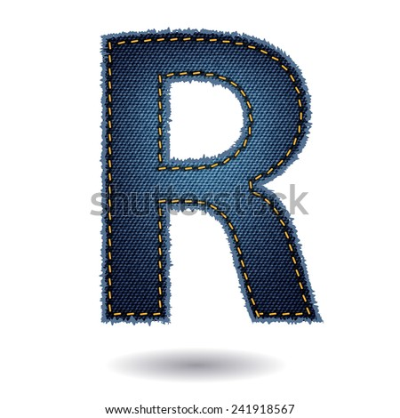 Jeans alphabet ( R ) isolated on white background, Vector illustration template design - stock vector