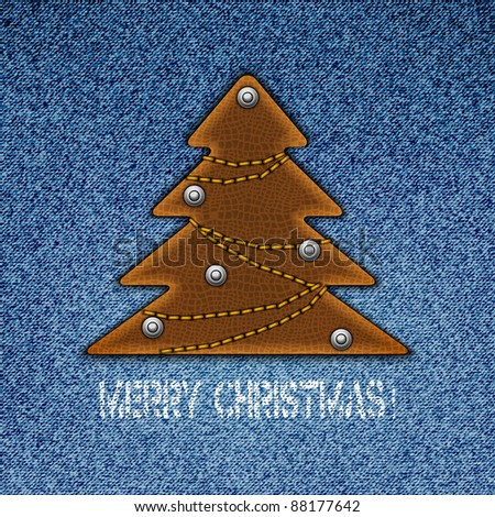 Jeans background with christmas tree in form of the label. Vector illustration. Eps10 - stock vector