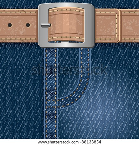 Jeans background with leather belt. Detailed vector illustration. - stock vector