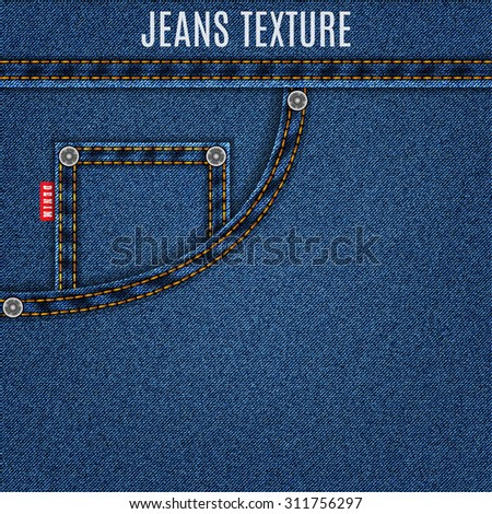 jeans blue texture material with pocket denim background. stock vector illustration eps10 - stock vector
