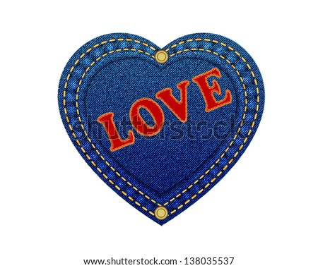 Jeans heart leather label Love denim background.Vector - stock vector