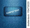 Jeans label on jeans background. Vector. - stock vector