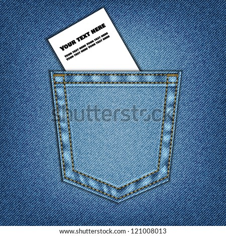Jeans pocket. Background of Denim texture, vector eps10 - stock vector