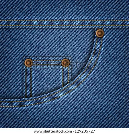 Jeans pocket in vector EPS 10. - stock vector