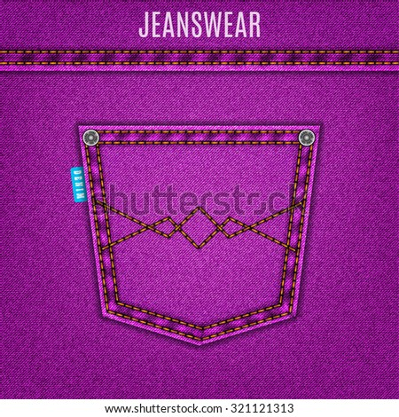 jeans purple texture with pocket denim background. stock vector illustration eps10 - stock vector