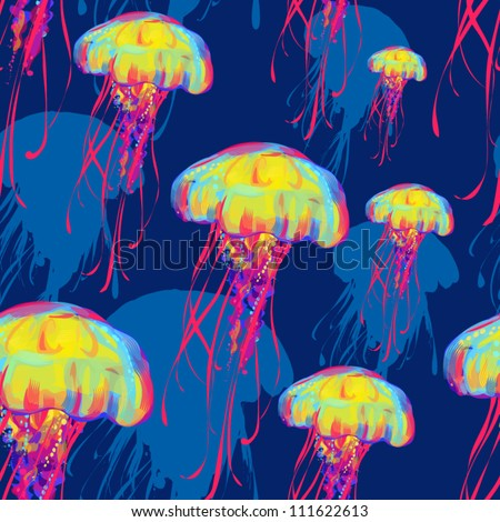 jellyfish pattern - stock vector