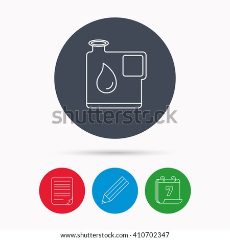 Jerrycan icon. Petrol fuel can with drop sign. Calendar, pencil or edit and document file signs. Vector - stock vector