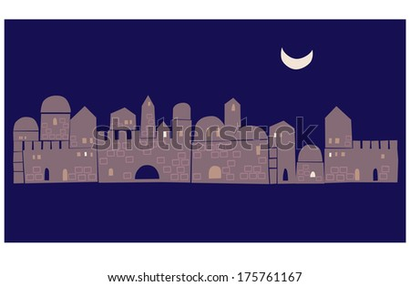 Jerusalem, Middle East, Eastern Town, Abstract Illustration - stock vector