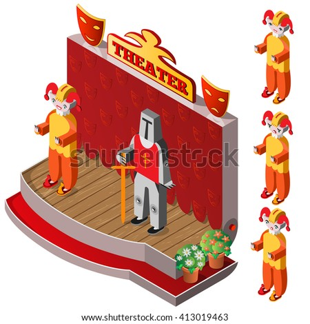 Jester and king on theater stage. Jester with different facial expressions. Isometric icon set. Vector illustration. - stock vector
