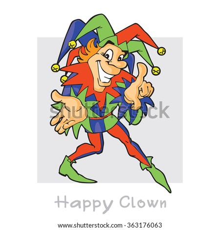 Jester. Crafty cheerful clown. Vector cartoon character. - stock vector