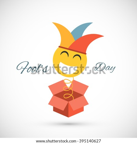 Jester springing out of a box. Fools day illustration - stock vector